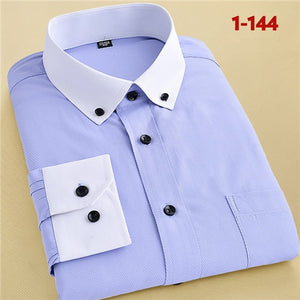 Recommend 2018 good Patchwork black button turn down collar long sleeve twill business formal mens dress shirts solid men 's top-geekbuyig