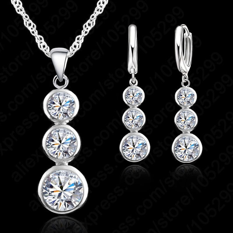 Jemmin Women Fine Jewelry 925 Sterling Silver Crystal Jewelry Sets For Wedding Pendants Necklaces Earring Set Accessory-geekbuyig
