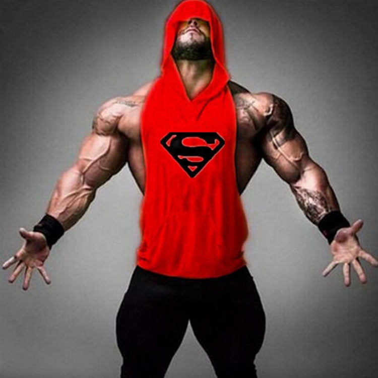 2018 Summer New Brand Sleeveless Shirt Casual Fashion Hooded Tank Top Men Out door bodybuilding Fitness clothing-geekbuyig