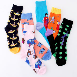 PEONFLY Colorful Men's Funny Combed Cotton Crew Dress Wedding Socks Causal Skateboard Socks Novelty Happy Socks US 7-11-geekbuyig