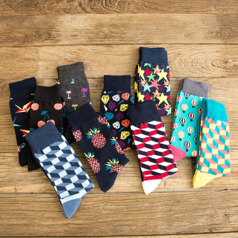 PEONFLY Men's Colorful Combed Cotton Socks Gradient Funny Casual Mid Calf Crew Socks Crazy Dress Socks for Gifts US 7-11-geekbuyig