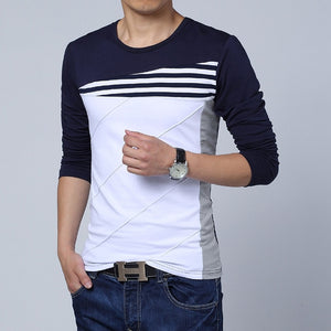 2018 New Fashion T-Shirt Men Brand Long Sleeve Patchwork O-Neck T Shirts Mens Casual Hip Hop T Shirt Male Size M-5XL NZ117-geekbuyig