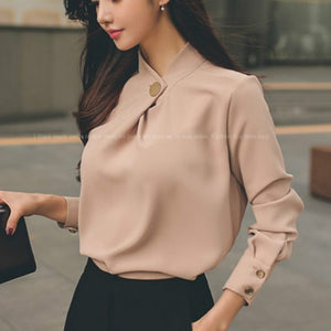 2017 Spring long sleeve stand collar thick chiffon shirts women work wear office OL chiffon blouses lady casual chiffon pullover-geekbuyig