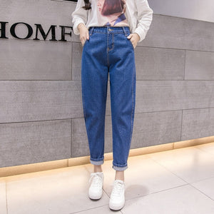 Women Blue Casual High Waist Jeans 2018 Autumn Winter Celebrity Boyfriend Loose Mom Jeans Femme Streetwear Black Denim Pants-geekbuyig
