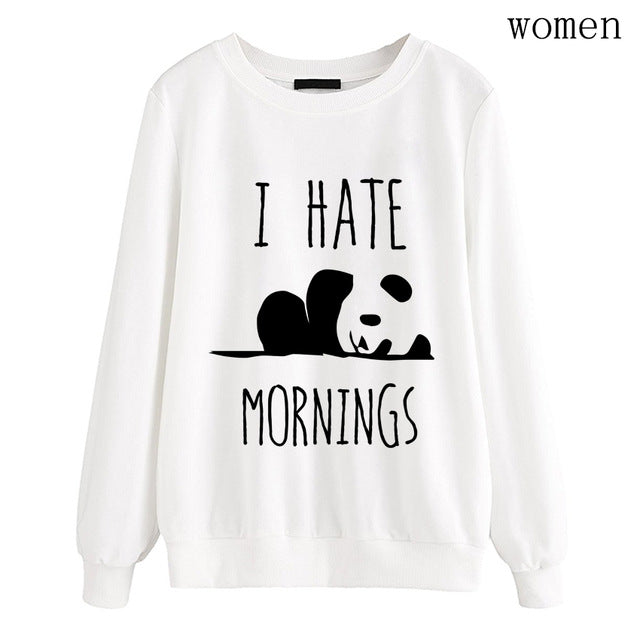I HATE MORNINGS kawaii Panda hoodies for women 2018 Autumn harajuku fleece sweatshirts Lady top brand tracksuits femme pullovers-geekbuyig