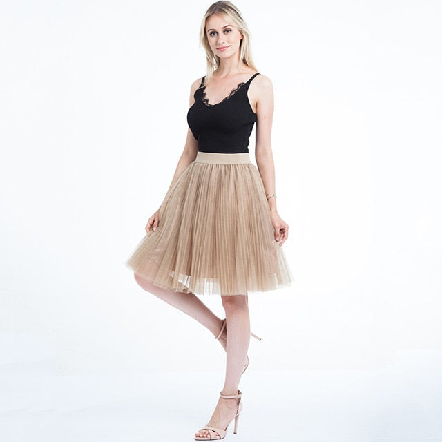 2018 Tulle Skirts Womens Black Gray White Adult Tulle Skirt Elastic High Waist Pleated Midi Skirt-geekbuyig