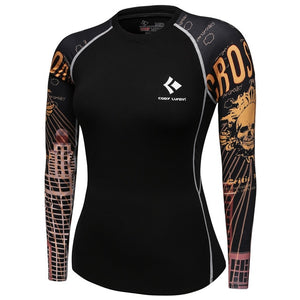 New 2018 Women Compression T Shirt Quick-dry Tights Fitness Mma T-shirts Fashion Printed Long Sleeve Workout Tops Womens-geekbuyig