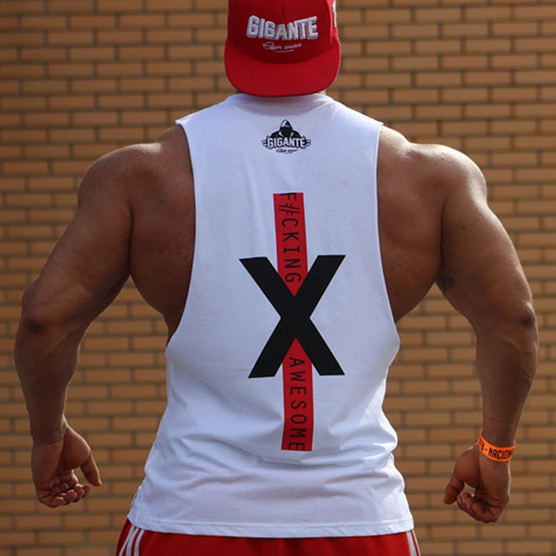 Men Bodybuilding Tank Tops Gyms Fitness Workout Sleeveless Shirts Casual Fashion Cotton Print Vest Male Crossfit Brand Clothing-geekbuyig