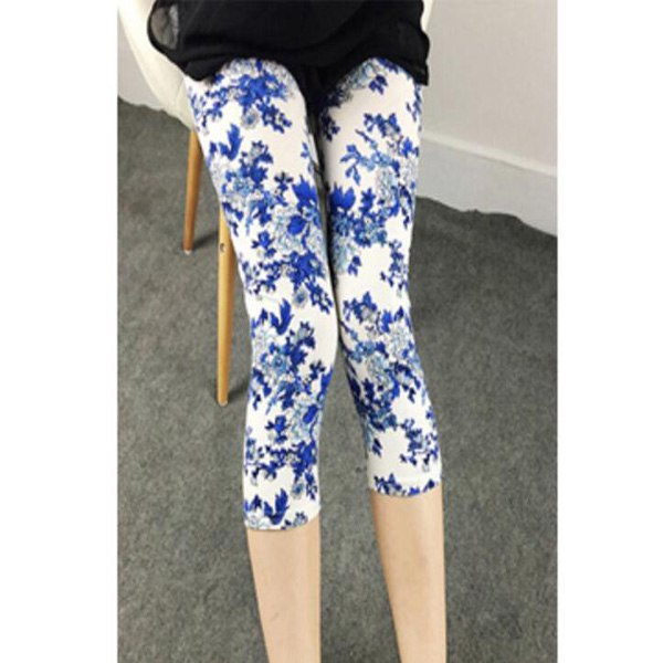 Summer Capris Mid Calf Women Leggings High Waisted Deportes Lattice Floral Printing Flower Pant Lady's Kull New Trousers KA002-geekbuyig