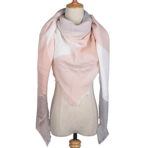 Winter Luxury Brand Triangle Scarf Women Cashmere Pink Plaid Shawls and Wraps Blanket Foulard Dropshipping Not hair Removal-geekbuyig