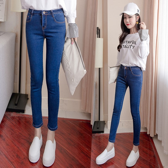 Plus Size High Waist Stretch Washed Jeans Woman Denim Pants Befree Trousers For Women Pencil Skinny Jeans Light Blue Gray Black-geekbuyig