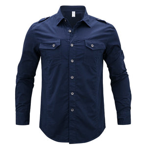Spring 2017 Men's Long Sleeve Denim Cargo Shirts Plus Asian size M-5XL Shirt Men Cotton-geekbuyig