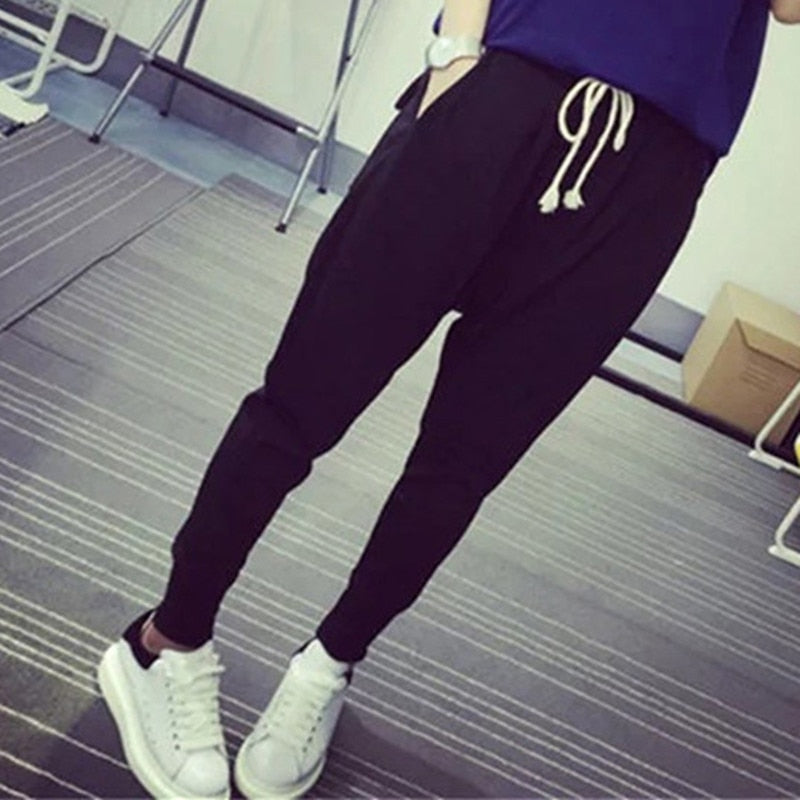 2018 Fashion Women Loose Black Pants Ladies Streetwear Basic Joggers Pants Exercise Summer Britches Tie Trousers Plus Size 2XL-geekbuyig