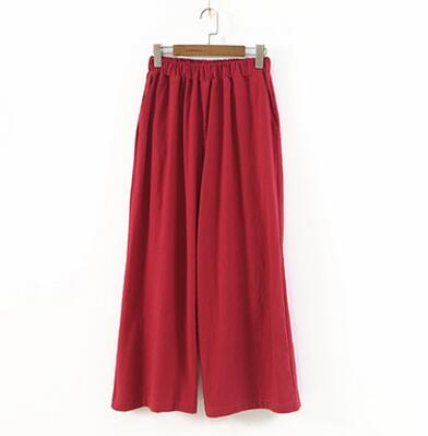 Johnature 2018 New Cotton Linen Soft Wide Leg Women Pants Elastic Waist Ankle-Length Solid Color Summer Loose Trouser-geekbuyig