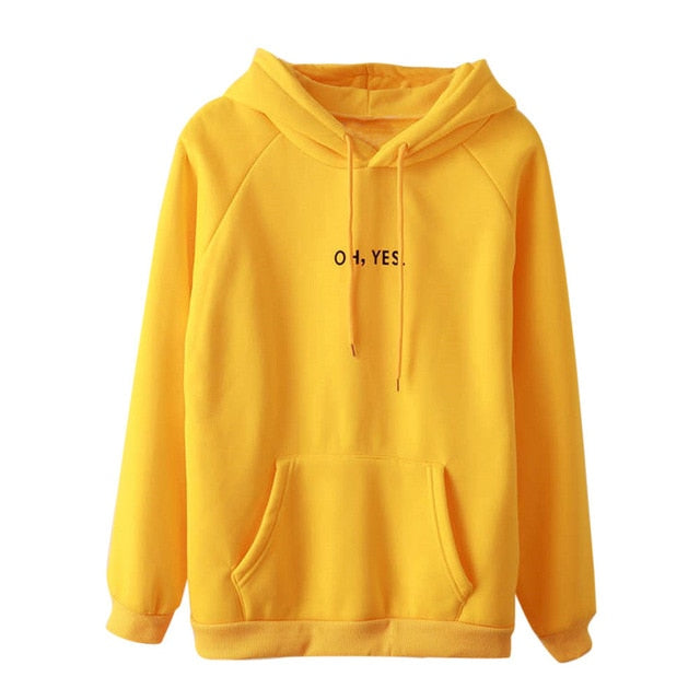 "Letter""oh,yes"" Stylish Girls Hoody Sudaderas Mujer 2018 Long Sleeve Hoodie Women Sweatshirt Hooded Pullover Tops Freeshipping-geekbuyig"