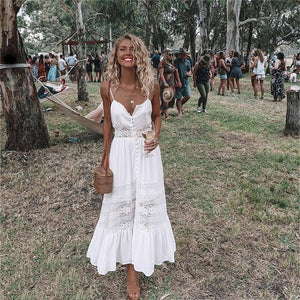 2018 Fashion Women Clothing Summer Lace Dress Female Hollow Out Maxi White Dress Loose Casual Sexy Party Women Dress Plus Size-geekbuyig