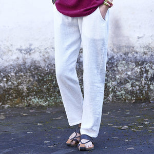 2018 spring summer women's casual trousers cotton linen all-match women's ankle length straight pants 7 colors pantalones mujer-geekbuyig