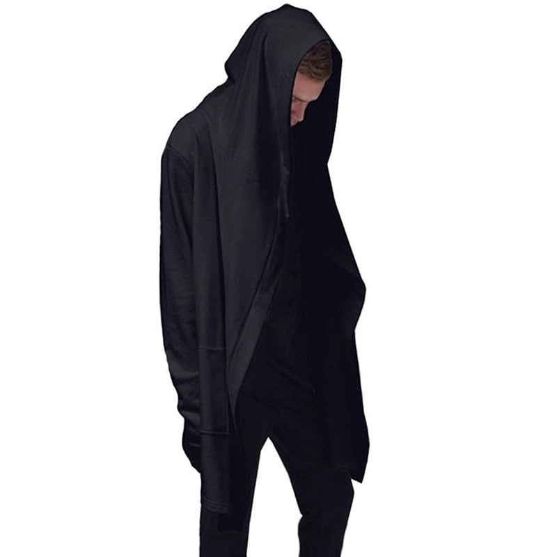 Men Hooded Sweatshirts With Black Gown Hip Hop Mantle Hoodies Fashion Jacket long Sleeves Cloak Man's Coats Outwear-geekbuyig