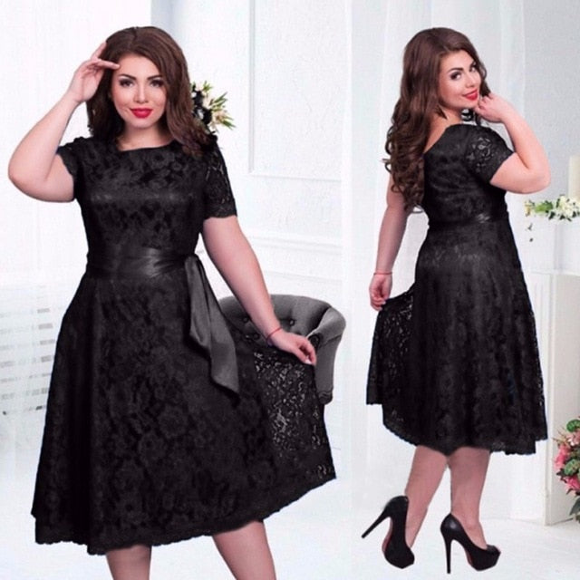 Summer Women Dress Plus Size 6XL Lace Elegant Lady Dress Short Sleeve Casual Fashion Vestidos Large Size Party Dress-geekbuyig