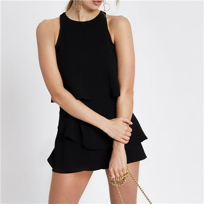 Sleeveless layered short jumpsuit for women 2018 Summer fashion solid playsuits Causal rompers women jumpsuit Back slit playsuit-geekbuyig