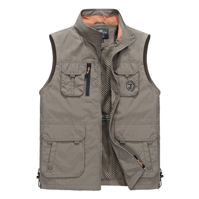 Summer Sleeveless Men Vest Multipockets Photographer Vest Men Fashion Breathable Waistcoat Waterproof Vest chalecos para hombre-geekbuyig