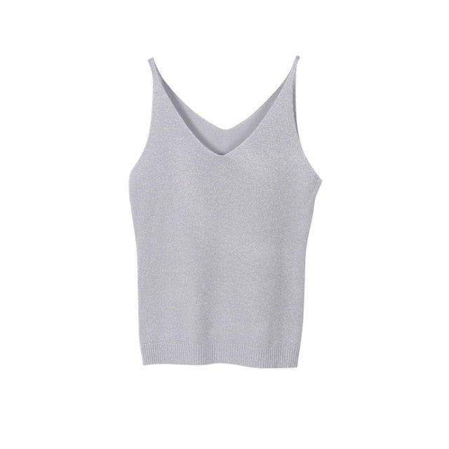 Sexy Women V Neck Sleeveless Knitted Tops T Shirt Spaghetti Strap Casual T-shirts-geekbuyig