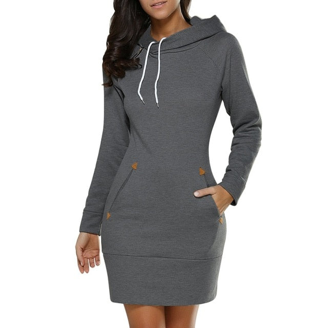 2017 Women Dress Autumn Winter Long Sleeve Hooded Hoodies Sweatshirt Dress Casual Slim Mini Dresses Plus Size Vestidos Y3-geekbuyig