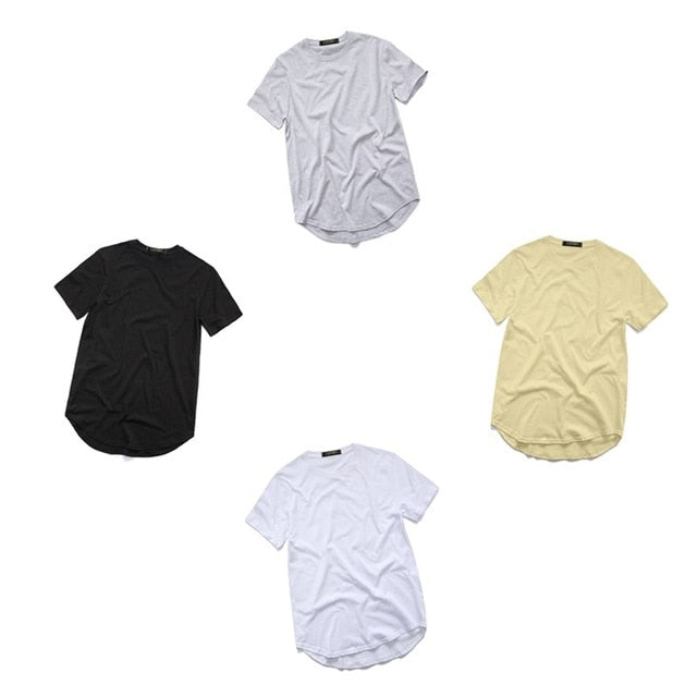 men's T Shirt Kanye West Extended T-Shirt Men clothing Curved Hem Long line Tops Hip Hop Urban Blank Justin Bieber TX135-R-geekbuyig