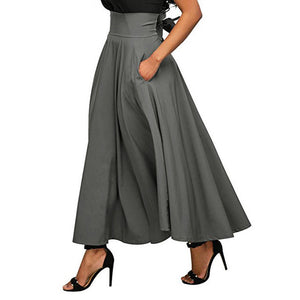 2018 Summer Fashion Skirt With Pocket High Quality Solid Ankle-Length Vintage Skirt For Women Black Long Skirt-geekbuyig