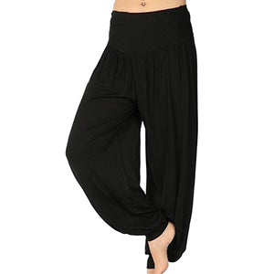 2018 Summer Female High Waist Loose Harem Pants Women Fashion Dance Stretchy Solid Color Wide Leg Long Pants Pant Streetwear-geekbuyig