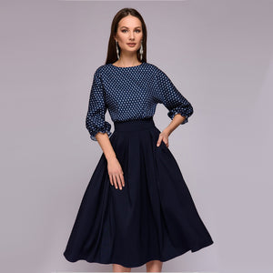 Women Vintage Print A Line Dress Ladies O Neck Lantern Sleeve Party Dress 2018 New Fashion Elegant Knee-Length Women Dresses-geekbuyig