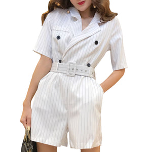 BGTEEVER Casual Summer Striped Jumpsuits for Women Rompers Notched Double Breasted Playsuits Short Sleeve Short Overalls 2018-geekbuyig