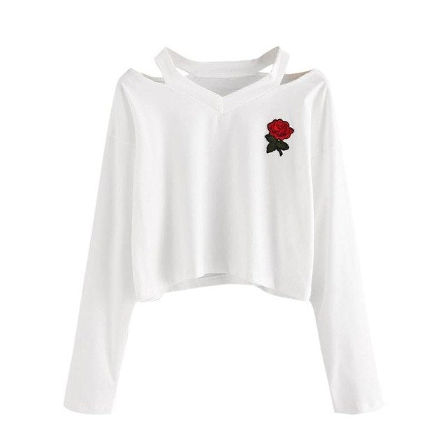 2018 Fashion Womens Long Sleeve Sweatshirt Rose Print Causal Tops #0-geekbuyig