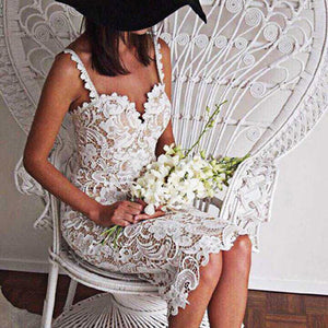 Kenancy Summer White Black Lace Dress Design Sexy V Neck Spaghetti Strap Bodycon Midi Dresses Lace Hollow Out vestidos de festa-geekbuyig