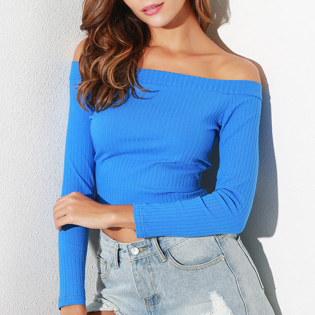 Women Off Shoulder Crop Top T Shirts Long Sleeve Short T-shirts For Women Clothing Fashion Black T-shirt Tops Tees Korean Style-geekbuyig