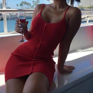 Lossky Summer Women Dress Knitted Cotton Dresses Sexy Club Spaghetti Strap Women Bodycon Bandage Slim Mini Short Dress 2018 Red-geekbuyig