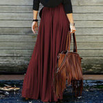 Vintage Long Skirts Dark Red Orange Summer Womens Casual High Waist Long Maxi Skirt jupe femme Boho Pleated Boho Skirt-geekbuyig