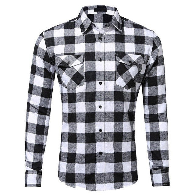 Laamei 2018 New Mens Plaid Cotton Shirt Slim Soft Comfortable Autumn Male Shirts Brand Male Business Casual Long-sleeve Clothes-geekbuyig