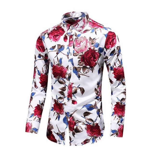 2018 Autumn New Fashion Male Shirt Casual Long Sleeve Button Shirt for Men Rose Printed Floral Shirts Men Plus Size 5XL 6XL 7XL-geekbuyig