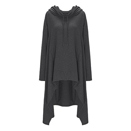 Women Autumn 2018 New Roupas Long Asymmetric Casual Hoodie Tops Pullover Long Sleeve Oversized Hooded Fall Plus Size Sweatshirt-geekbuyig