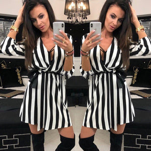 2018 New Fashion Sexy Women V-Neck Striped dress Summer Black White Striped Beach Casual Loose dresses vestidos Plus Size-geekbuyig