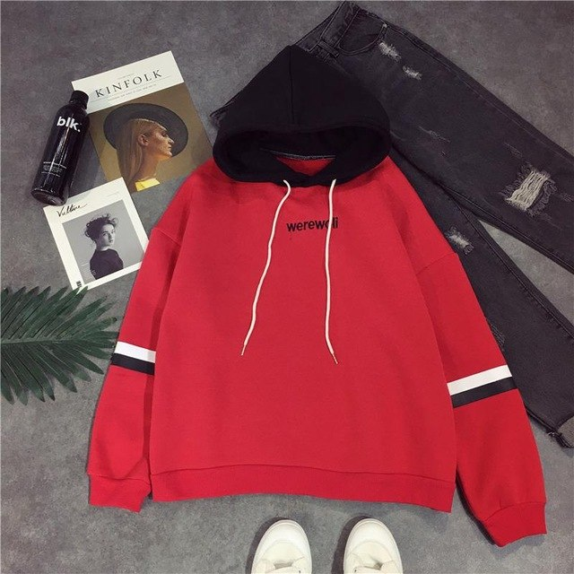 Autumn Winter Fashion Kpop Women Sweatshirts Casual Streetwear Harajuku Hoody Long Sleeve Letter Print Hoodies Pullovers-geekbuyig