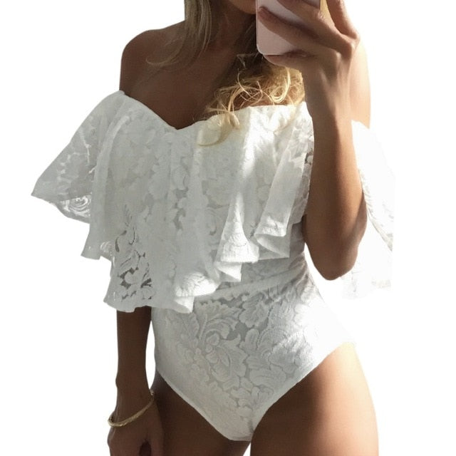 New Arrival Women Ruffles Lace Bodysuit Summer Jumpsuits Rompers Off Shoulder Slash Neck Body Sexy Bodysuits-geekbuyig