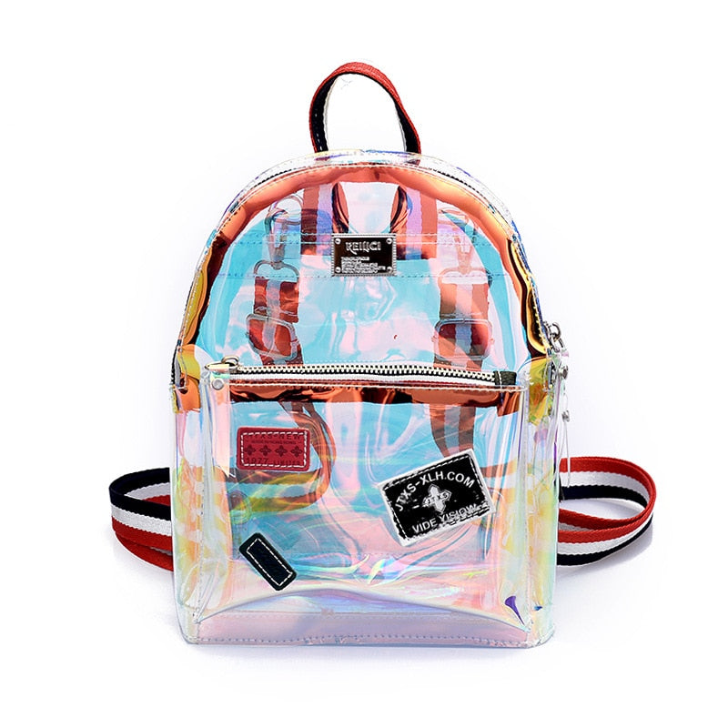 2018 Trendy Waterproof clear plastic backpack Women Travel Fashion PVC School Bags for Teenage Girls Casual womens back pack New-geekbuyig
