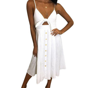 LAAMEI Sexy Party Dress Women Sexy Bodycon Beach Sundress Spaghetti Strap Backless Bandage Dress Boho V-Neck Summer Dresses-geekbuyig