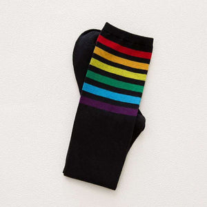 New Fashion multicolor stripes cotton sexy womens long socks Student style style party street dancing knee sock-geekbuyig