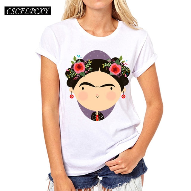 T shirt top round neck short sleeve lashes lips printed tees t-shirt punk-geekbuyig