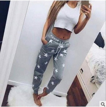 2018 Autumn Fashion Women casual Sporting Trousers Elastic Waist Drawstring Pockets Casual Sportswear Loose Pants Trousers-geekbuyig