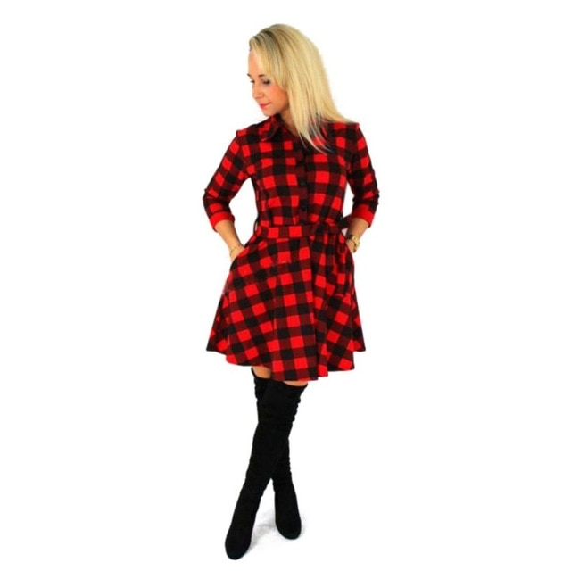2018 Fashion Women Long Sleeve Short Dress 3/4 Sleeve Shirt Dress Plaid & Checked Dress-geekbuyig