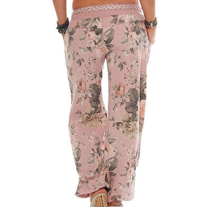 New S-5XL Womne Floral Print Long Lounge Pants Harem Pants Loose Summer Elastic Low Waist Big Size Trousers Plus Size Baggy 2018-geekbuyig